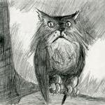 Owl Cat Pencil Drawing Blac..