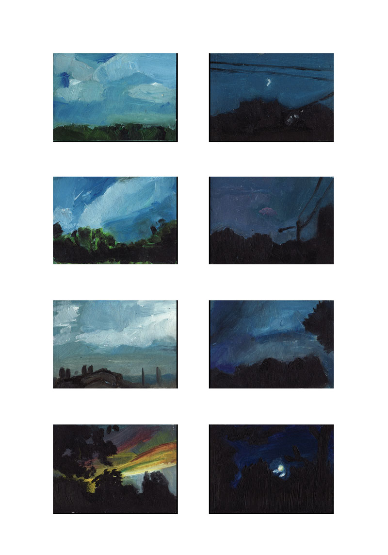 Clouds, Blue, Sky, Summer Mini Landscape Painting Art Prints - Summer Skies Series