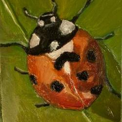 Lady Bug Mini Plein Air Outdoor Painting, Red, Green, Black Art - Daily Paintings