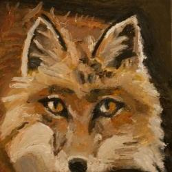 Brown Fox Mini Wildlife Painting Gold, Red, Orange Art - Daily Paintings