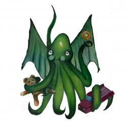 Squid Art Painting Limited Edition Print - Baby Cthulhu