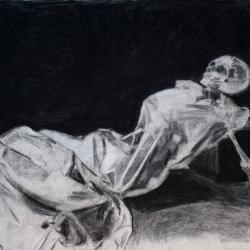 Dark, Death, Skeleton, Still Life Art Black and White Drawing Original Artwork