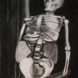 Skeleton Art Still Life Black and White Drawing - Death of Jazz