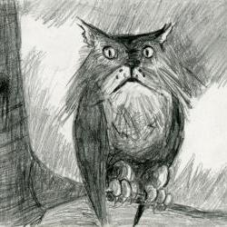 Owl Cat Pencil Drawing Black and White Print - Hybrid Animals Series Owlcat
