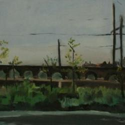 Impressionism - Bridge Landscape Oil Painting, Green, Blue