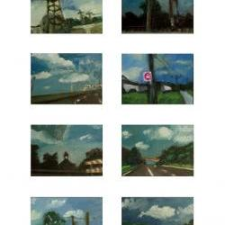 Clouds, Blue, Sky, Mini Landscape Painting Art Prints - Road Trip Series