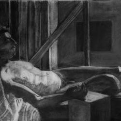 Relaxed Male Nude Figure Black and White Original Drawing